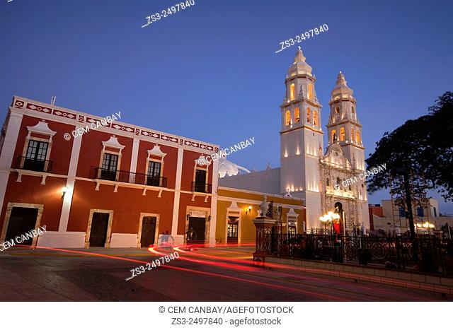 Catedral de Nuestra Senora de la Purisima Concepcion, Cathedral of Campeche at Zocalo in the historical center listed as World Heritage Site by Unesco