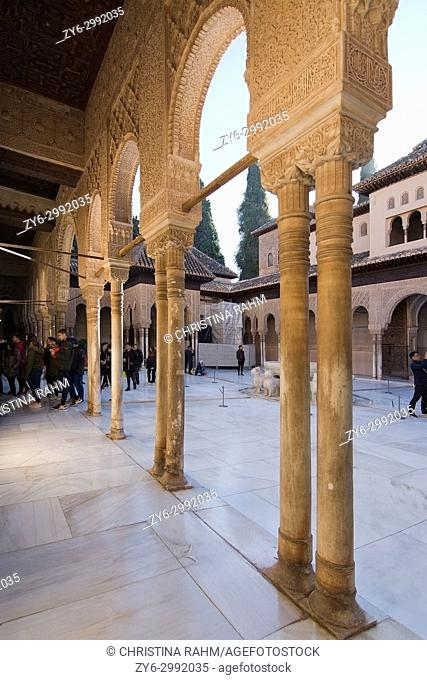 Alhambra Lions Court interior architectural details in Granada, Andalucia, Spain