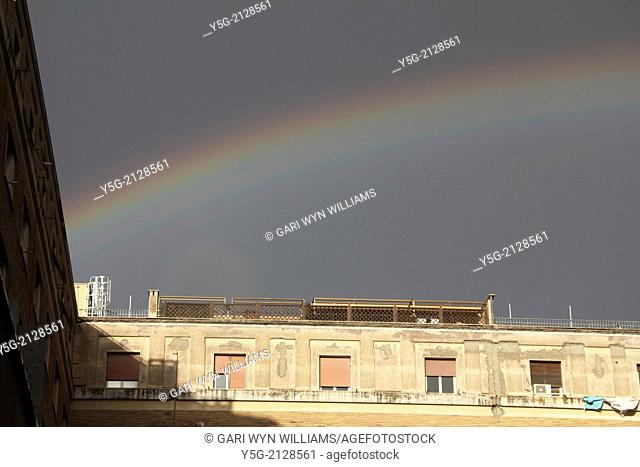Rome, Italy. 12th Feb 2014 Rainbow appears after heavy rain in Rome Italy