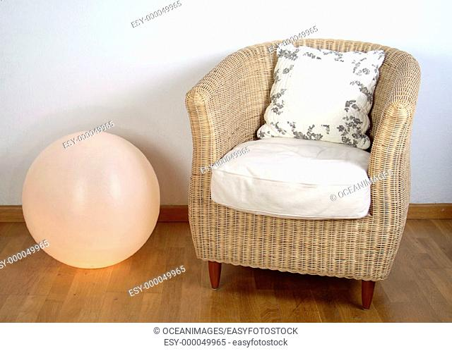 Armchair and lamp