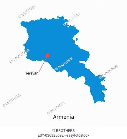 Detailed vector map of Armenia and capital city Yerevan