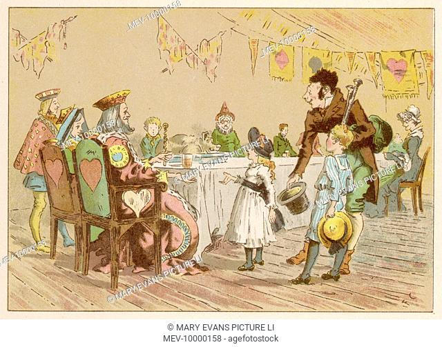 Margery and Freddy meet two more of their nursery rhyme heroes, the King and Queen of Hearts, sitting at a table