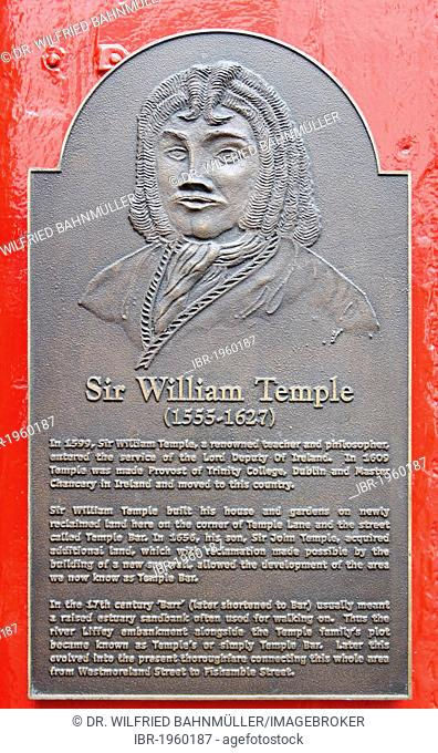 William Temple, 1555 - 1627, Irish ramist and provost, memorial plaque at the Temple Bar, Crown Alley, Dublin, Republic of Ireland, Europe, PublicGround