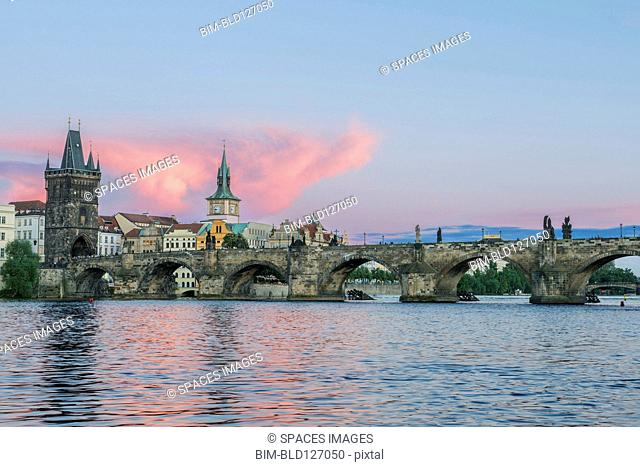 Charles Bridge and city at sunset, Prague, Czech Republic