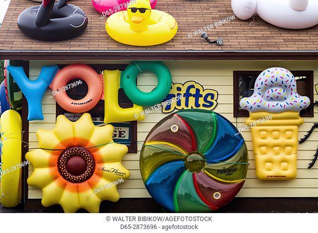 USA, Massachusetts, Cape Cod, Wellfleet, shop selling beach floats