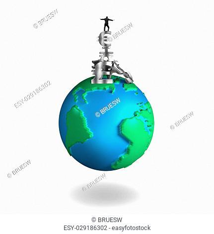 Businessman balancing stack money symbols on 3D globe with world map, isolated on white background
