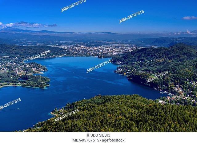 Austria, Carinthia, Wörthersee, eastern part, Klagenfurt, view from the Pyramidenkogel