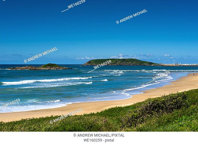 Little Muttonbird and Muttonbird islands seen from Coffs Harbour Park beach, New South Wales, Australia