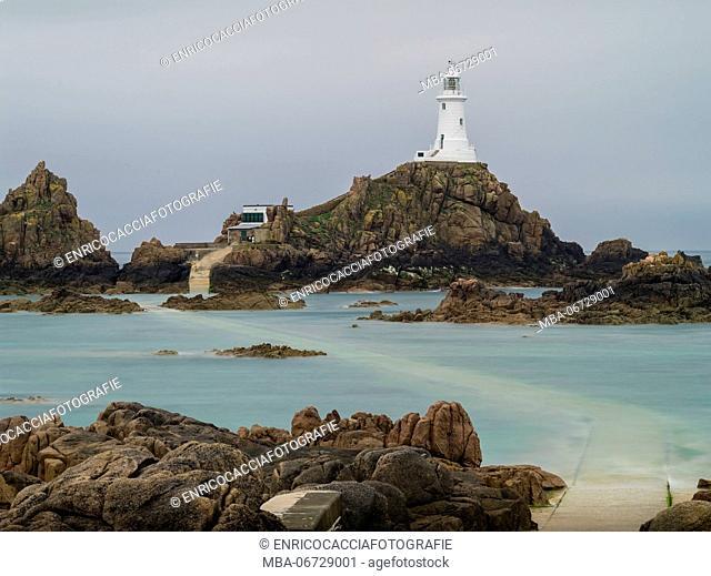Corbière Lighthouse on Jersey at half flood