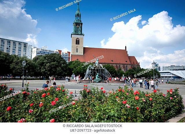 Germany, Berlin, Alexanderplatz Square, Detail Neptune Fountain
