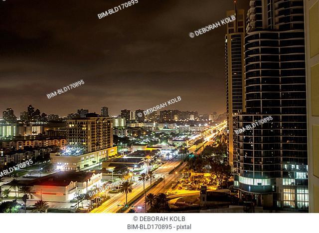 Sunny Isles Beach cityscape at night, Florida, United States