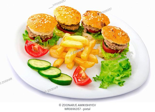 Plate with burgers and french fries