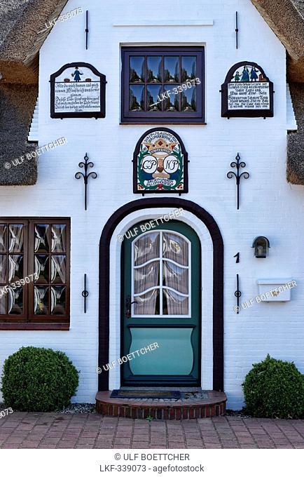 Front door of a house in Nieblum, North Sea Island Foehr, Schleswig-Holstein, Germany