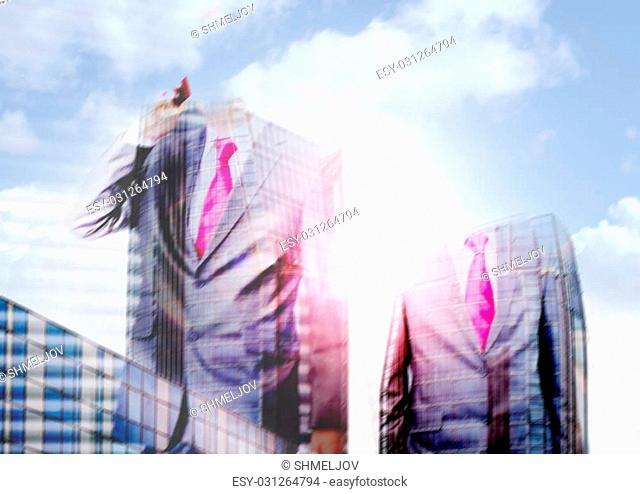 Successful businessman and a city. Double exposure creative concept