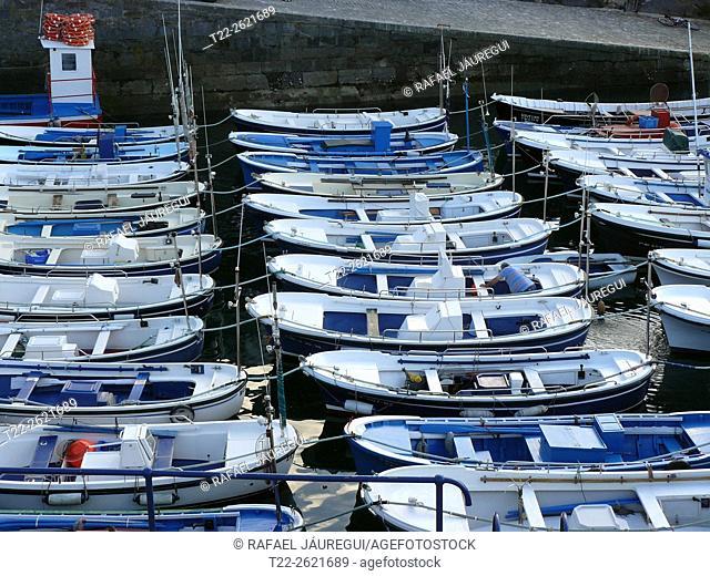 Mundaka (Basque Country) Spain. Ships in the port of Mundaka