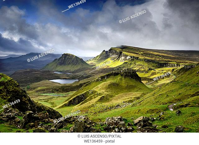 Quiraing landscape, sunrise, Isle of Skye, Scottish Highlands, Scotland