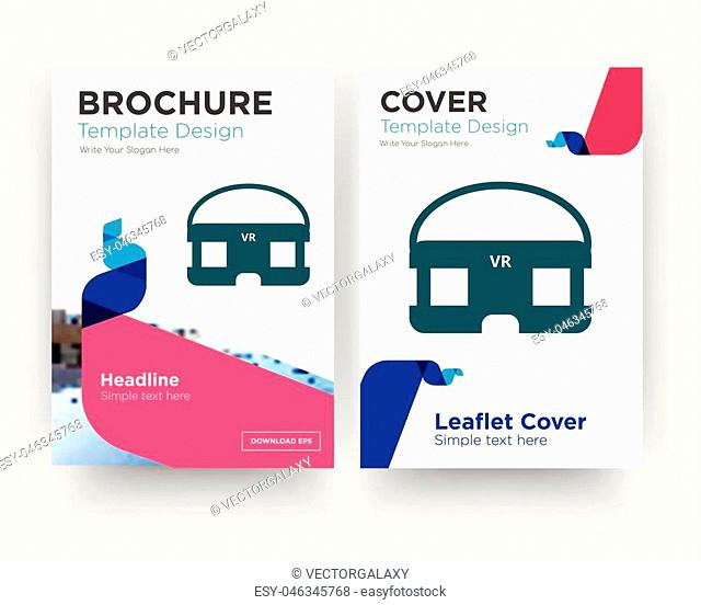 vr headset brochure flyer design template with abstract photo background, minimalist trend business corporate roll up or annual report