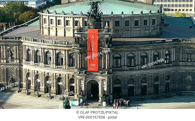 Zoom out of the historical Semper Opera, one of the most important landmarks in Dresden, East Germany