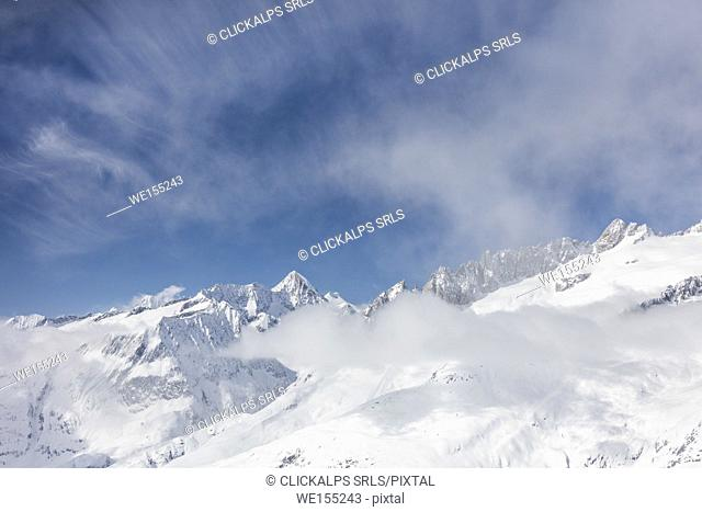 Aletsch Glacier seen from Betterhorn surrounded by snow Bettmeralp district of Raron canton of Valais