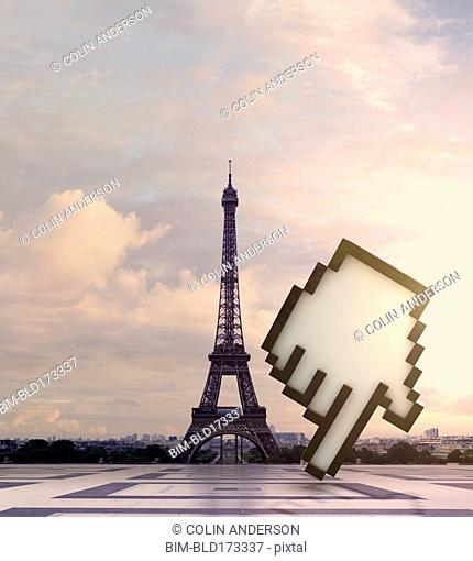 Computer cursor at Eiffel Tower, Paris, Ile