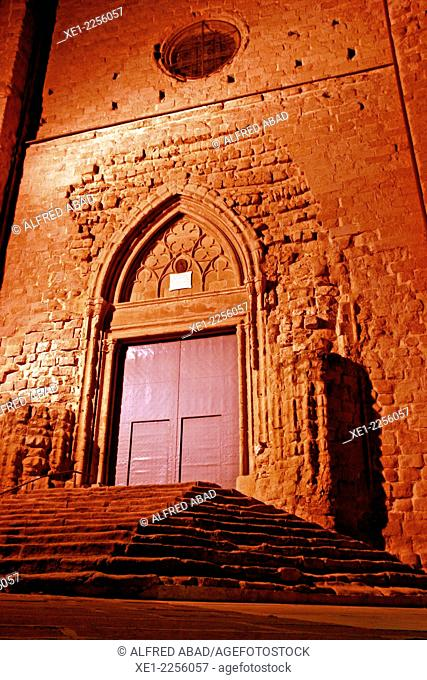 Door, Church of Sant Miquel at night, Cardona, Catalonia, Spain