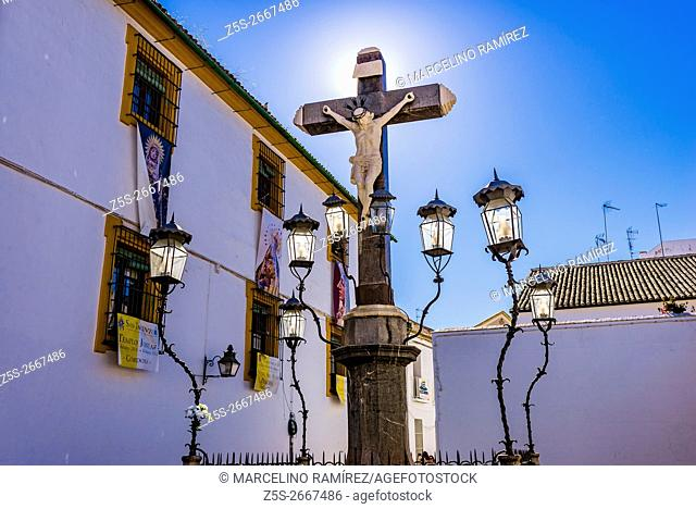 The Christ of the Grievance and Mercy, popularly known as the Christ of the Lanterns, Cristo de los Faroles, was made by the sculptor Juan Navarro León in 1794