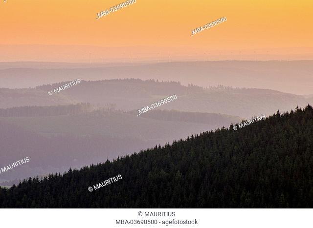 Sunrise, observation tower, Dommel (mountain), Ottlar, Hessia, Germany