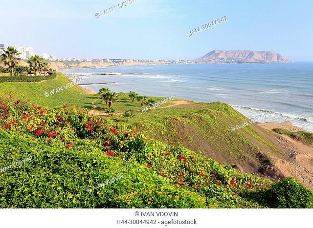Pacific coast in Miraflores, Lima, Peru