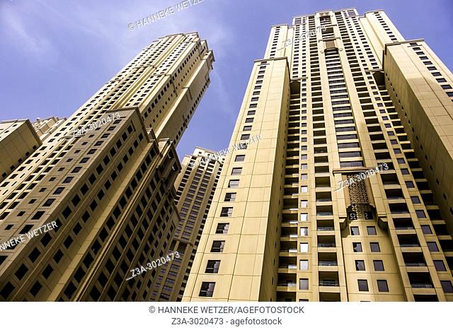 JBR Jumeirah Beach Residence; a 1. 7 kilometres long floor area waterfront community located against the Persian Gulf in Dubai Marina in Dubai