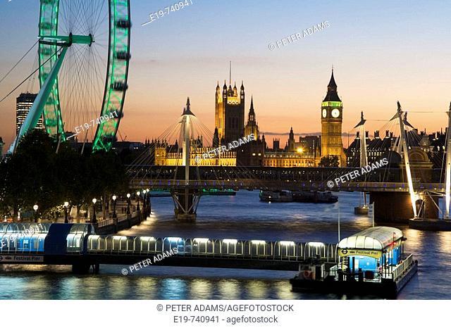 River Thames & Houses of Parliament & Millennium Wheel, London, UK