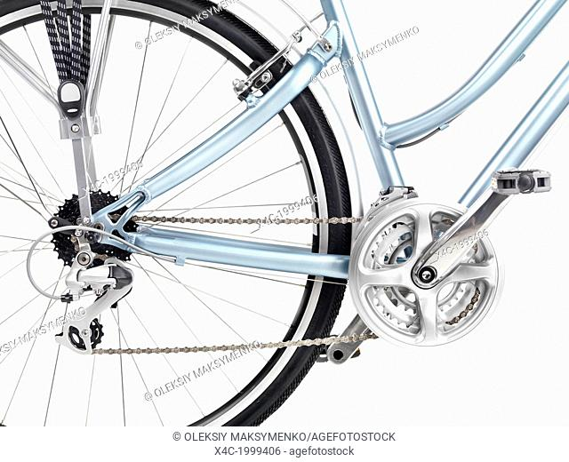 Bicycle rear wheel set of gears and pedals closeup isolated on white background