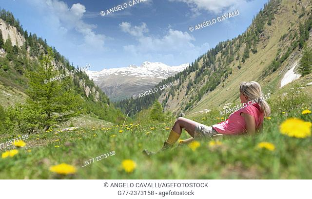 Woman in an alpine meadow, Canton of Graubünden, Switzerland