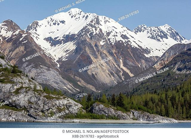 Snow-capped mountains in Glacier Bay National Park, southeast Alaska, USA
