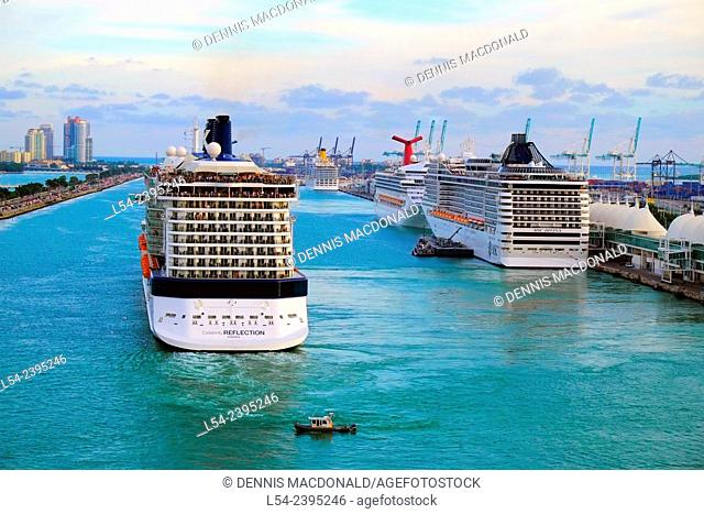Cruise ships at the Port of Miami preparing to sail into the Caribbean