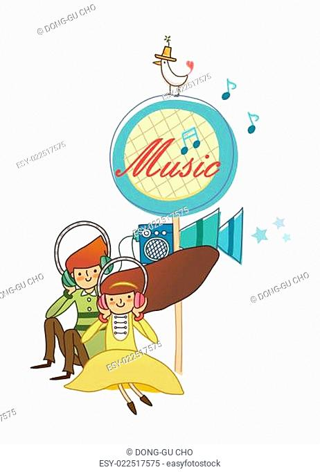 Boy and Girl using headphone