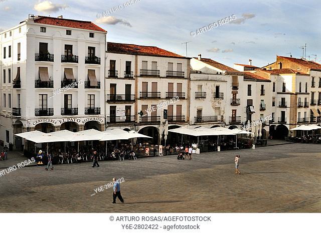 The Plaza Mayor of Cáceres in Extremadura, Spain