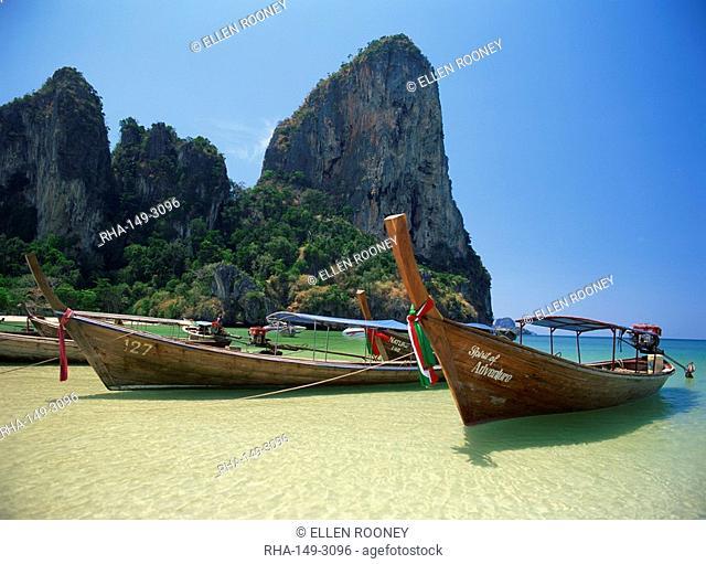 Long tail boats moored on Railay Beach, Krabi, Thailand, Southeast Asia, Asia