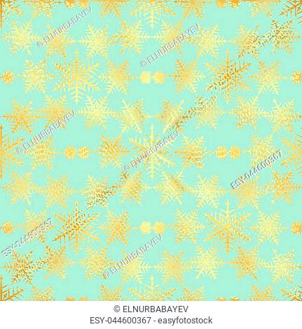 Gold Star and Gold Snowflake Seamless Pattern. seamless pattern with gold confetti stars and snowflake. Vector illustration. Shiny background