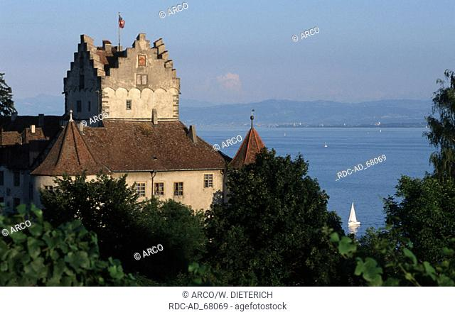 Old Castle old part of Meersburg and view on Lake Constance Baden-Wurttemberg Germany