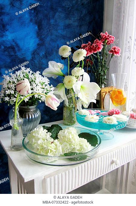 still life, sideboard, flowers, vases, different