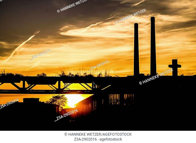 Sunset at Strijp-S, a former Philips factory area but now a modern and trendy area to live and work in Eindhoven, Holland