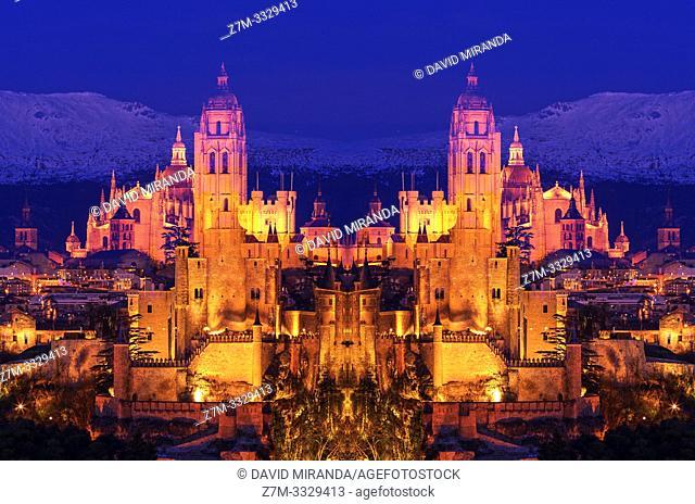 Composición de Segovia de noche con su catedral y su alcázar. España