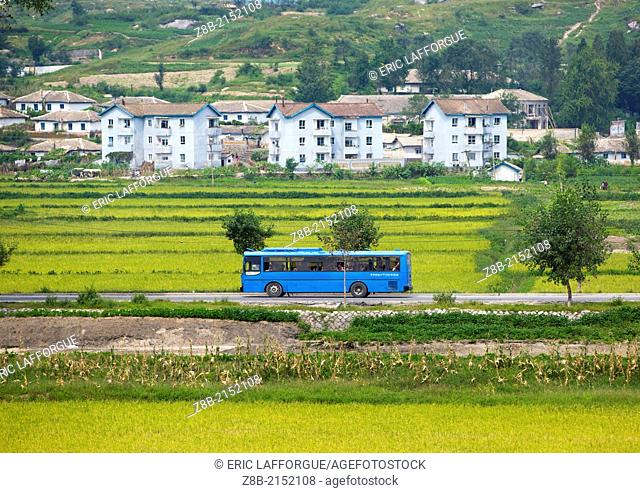 Bus Passing In The Country, Kaesong, North Korea