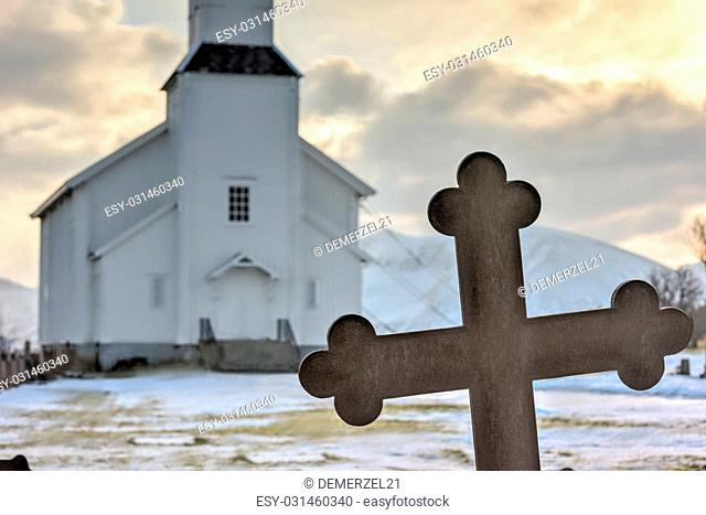 Gimsoy Church in the Lofoten Islands in the winter. It is a parish church in the municipality of Vagan in Nordland county, Norway