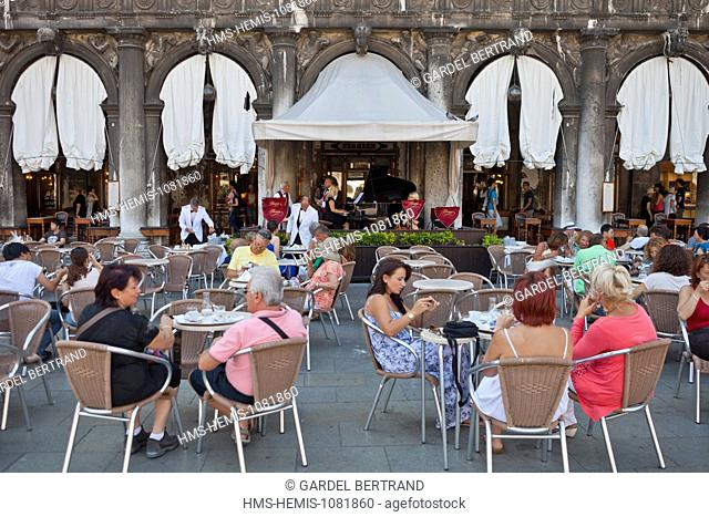 Italy, Venetia, Venice, listed as World Heritage by UNESCO, Piazza San Marco (St Mark's Square), the terrace of the famous Cafe Florian