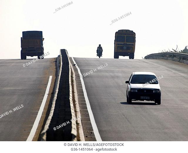 Newly built roads, part of the national higway system, in rural Taml Nadu, India