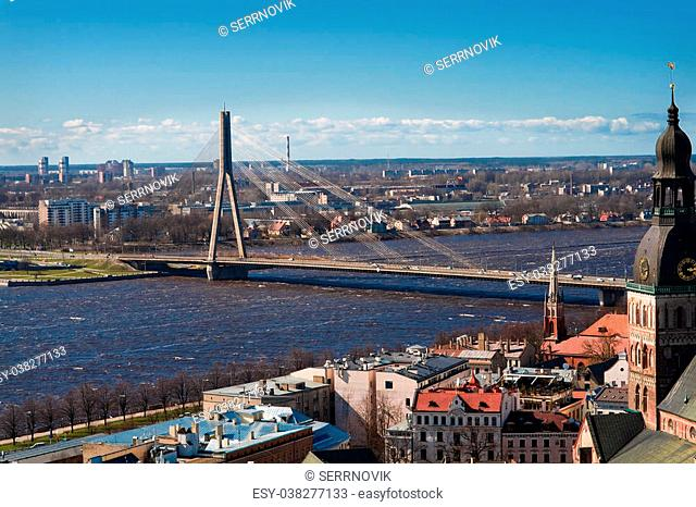 View on a bridge over Dvina in Riga,Latvia from Peter tower