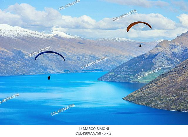Paragliding over Lake Wakatipu, Queenstown, South Island, New Zealand