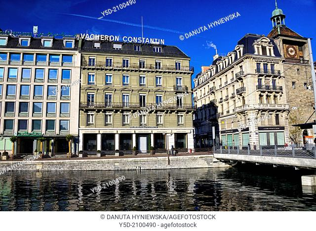 Bel-air, Geneva, Switzerland , right - Leumi Private Bank - an Israeli bank, in the middle - Vacheron Constantin boutique - the oldest Swiss manufacturer of...
