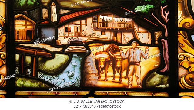 Painting on glass depicting a 'caserio' (typical Basque farm house), Behobia, Guipuzcoa, Basque Country, Spain